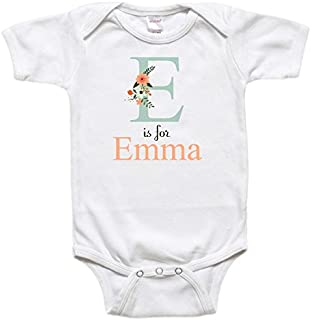 Personalized Baby Bodysuit or Toddler Shirt - Baby Gift - Floral Name and Inital