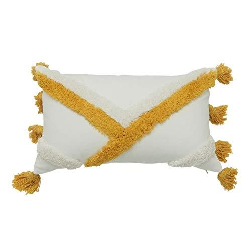 COMPY Borla Cojín Amarillo Funda de Almohada Decorativa Funda de Almohada Decoración nórdica Moderna para el hogar Tufted