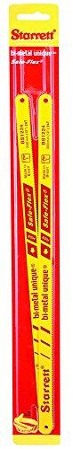 "Starrett KBS1224-2 Bi-Metal Unique High Speed Steel Safe-Flex Hacksaw Frame Blade, 0.025"" Thick, 24 TPI, 12"" Length x 1/2"" Width (Pack of 2)"