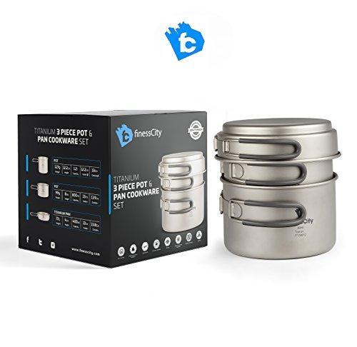 Set de 3 piezas de Utensilios de cocina de camping de titanio (1.2L, 800ml...