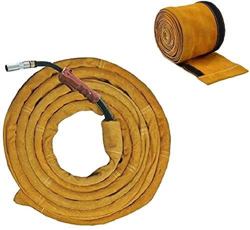HOLULO Cubierta de Tig,Cubierta de cable de antorcha de Soldadura TIG Cuero Kevlar cosido Cable MIG / Plasma Amarillo Mangas Cubierta
