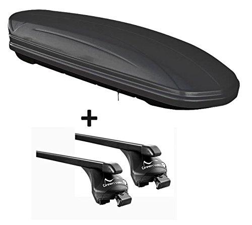 VDP Skibox schwarz matt MAA 460M 460 Liter abschließbar + Relingträger Dachgepäckträger aufliegende Reling im Set kompatibel mit Volvo XC90 ab 2015