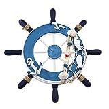 YINETTECH Náutico buque dirección timón rueda decoración pared 23x23 cm barco madera playa interior decoración estilo C