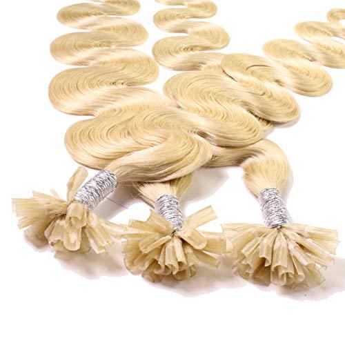 Hair2Heart 25 x 0.5g Extensiones de queratina - 60cm, colore #22 rubio dorado, corrugado