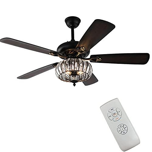 Ventilador de techo de cristal con lámpara y mando a distancia, lámpara de techo industrial, ventilador de techo con iluminación, ventilador de techo con luz, alas antiguas