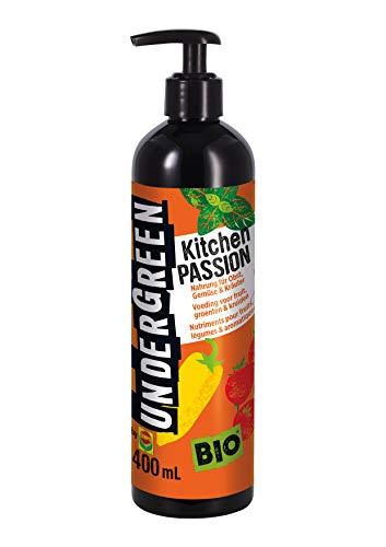 Undergreen Kitchen Passion, Nahrung für alle Obst- und Gemüsepflanzen sowie Kräuter, Bio-Flüssigdünger, Pumpspender, 400 ml