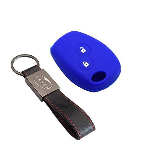 kaser Funda Silicona para Llave Renault – Carcasa Llaveros 2 Botones para Coche Dacia Clio Megane Modus Espace Kangoo Twingo Cover Case Protección Remoto Mando Auto (Azul)