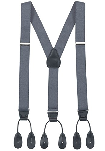 Hold'Em Suspenders for Men Y-Back Leather Trimmed button end tuxedo Suspenderss Many colors and designs - Grey (Regular 46' Long)