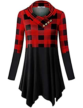 Cestyle Womens Tunics Ladies Long Sleeve Buffalo Plaid Shirt Cowl Neck Lightweight Pullover Sweaters for Leggings Soft Comfy Flared Aline Swing Top Black and Red Medium