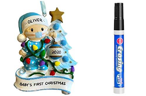 2020 Hallmark Disney Minnie/Mickey Mouse Baby's First Christmas Ornaments or Baby's First Christmas Social Distance Quarantine Fun Christmas Ornament (First Christmas Ornament Blue)