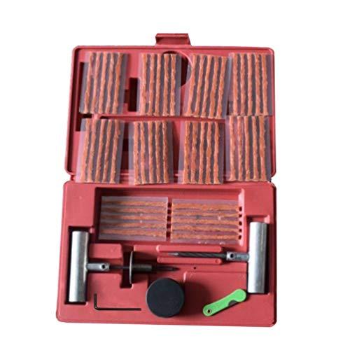 Kinshops 57pcs Kit de reparación de neumáticos de Rueda Herramienta de reparación de neumáticos Planos de Bricolaje para camión de Coche Motocicleta Enchufe casero Parche Garaje Herramientasred