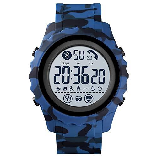 YNLRY Smart Watches Digitale Herren-Armbanduhr, App, Kalorienanzeige, wasserdicht, Bluetooth, elektronische Uhr für Android (Farbe: Blau)