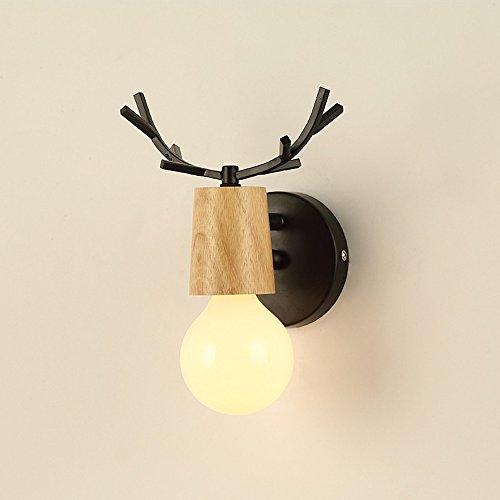 Creative eenvoudige mooie Deer Head Nordic wandlamp balkon slaapkamer kinderkamer woonkamer wandlampen hout metaal decoratief wandlicht E27 * 1