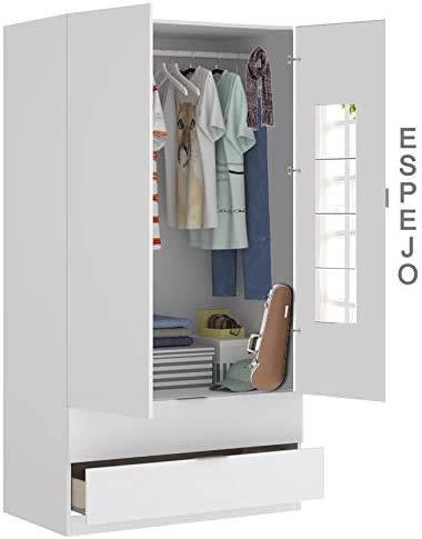 HABITMOBEL Armario Dormitorio Espejos, Medidas Armario: 184 cm (Alto) x 81 cm (Ancho) x 52 cm (Prof.)