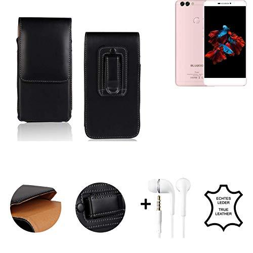 K-S-Trade® Leder Gürtel Tasche + Kopfhörer Für Bluboo Dual Seitentasche Belt Pouch Holster Handy-Hülle Gürteltasche Schutz-Hülle Etui Schwarz 1x