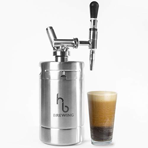 HB Brewing Nitro Cold Brew Kaffeemaschine, doppelwandig, isoliert, silberfarben