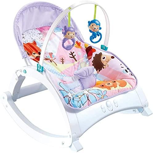 Silla mecedora de bebé 2 en 1 con columpio para bebé, silla mecedora, asiento con juguetes para colgar, música calmante, suave y cuna portátil para bebés recién nacidos a niños pequeños