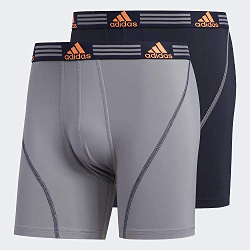 adidas Herren Sport Performance Boxershorts Unterwäsche (2 Stück), Grau/Legend Ink Blue/Solar Orange Legend Ink Blue/, Small