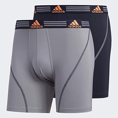 adidas Sport Performance ClimaLite - Boxer Lunghi da Uomo (Confezione da 3), Uomo, Intimo, 102115, Grigio/Legend Inchiostro Blu/Arancione Solare | Legend Ink Blu/Arancione Solare, S