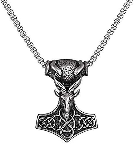 LBBYMX Co.,ltd Collar de Moda de Motorista gótico de Acero Inoxidable para Hombre, Oveja, Martillo de Thor, Collar con Colgante de Mjolnir, joyería para Regalo Masculino