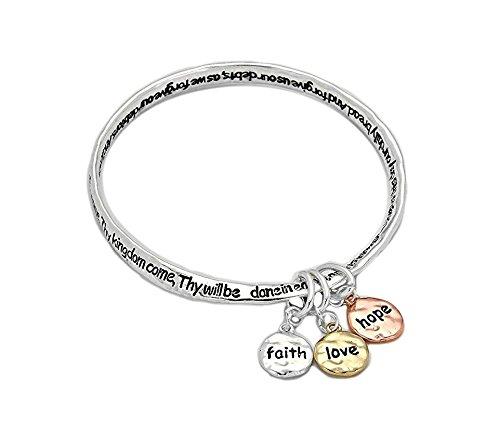 Silvertone Lord's Prayer Bangle Bracelet with Tri-tone Faith, Hope, Love Dangle Charms