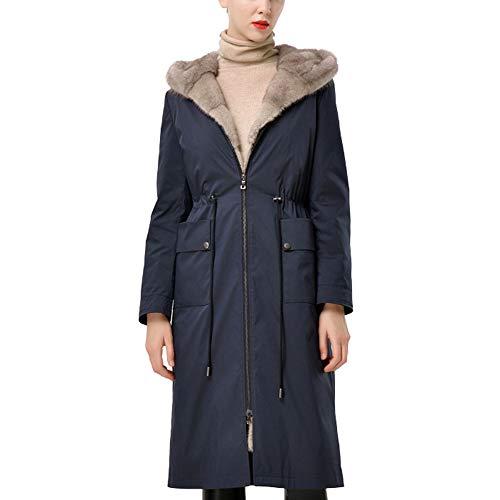 Byfjkkl - Abrigo para mujer con forro cálido extraíble, color azul oscuro, XXL
