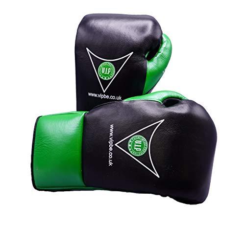 VIP Pugna Boxhandschuhe aus Leder mit Schnürung für Kampfsport, Fitness, Pro Wettbewerbe, Schwarz/Neongelb, 227 g