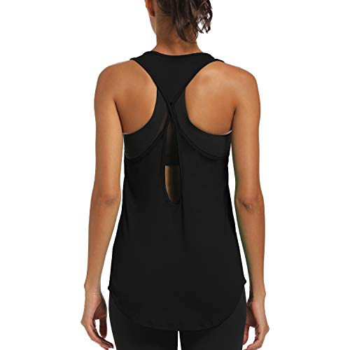 CNJUYEE Yoga Tops for Women Activewear Workout Tank Tops Athletic Women's Sleeveless Tops Open Back Running Sports Shirts Black