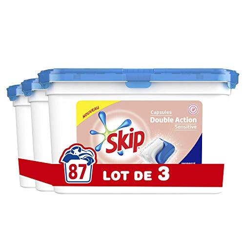 Skip Waschmittelkapseln Duo Sensitive Hypoallergene Formel x87, spezielle Formel für Baby und empfindliche Haut, perfekte Sauberkeit, 87 Waschgänge (3 x 29 Waschladungen)