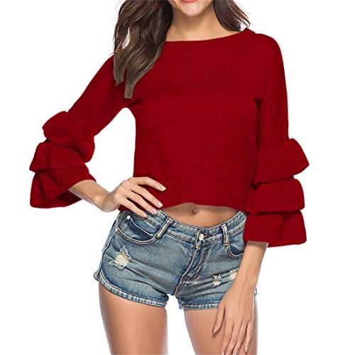 Otoño e Invierno Nuevas Mujeres Delgado Cuello Redondo suéter Corto suéter de Punto Mujeres Manga de Burbuja Moda Simple Crop Top Color sólido suéter de Manga de Pastel en Capas Sexy