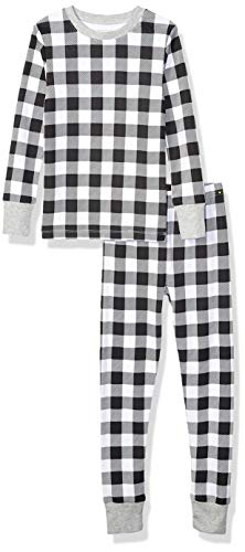 Amazon Essentials Mädchen Long-Sleeve Tight-fit 2-Piece Pajama Set, Mehrfarbig (Black and White Buffalo Check), 6 (S )