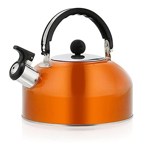 Zhicaikeji Hervidor Silbido 3L Acero Inoxidable silbido hervidor Estufa Tapa silbido café tetal Tetera Camping Barco Agua Agua con Mango Viaje Tetera para Acampar (Color : Orange, Size : One Size)