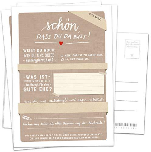 Hochzeitsspiel für Gäste, 52 Postkarten - Schön, dass du da bist - Beige, Spiel mit witzigen Fragen & zum Zeichnen, Recyclingpapier, Partykarten & Postkartengruß