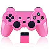 Wireless Controller 2.4G Compatible with Sony Playstation 2 PS2 (Pink)
