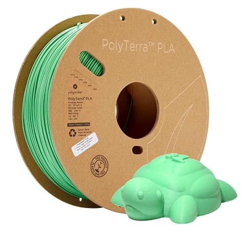 Polymaker, filamento ecologico PLA, 1,75 mm, verde, 1 kg, filamento PLA, 1,75 mm, con stampa a filamento 3D PolyTerra PLA con la maggior parte delle stampanti 3D con filamento 3D