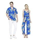 Couple Matching Hawaiian Luau Shirt Jumpsuit in Hibiscus Blue Men L Women M
