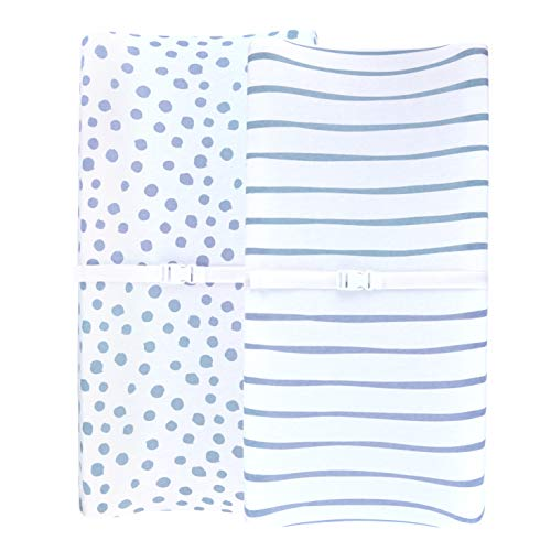 Adrienne Vittadini Bambini Jersey Cotton Change Pad Cover 2 Pack Blue Stripes amp Dots Blue
