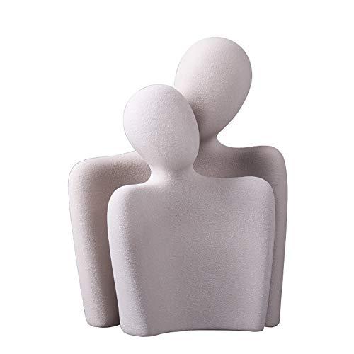 XIUWOUG Abstrakte Couple Umarmt Keramik Statue , Romantische Paar Skulptur Deko für Liebhaber Geschenk und Hochzeits (Sand grau)