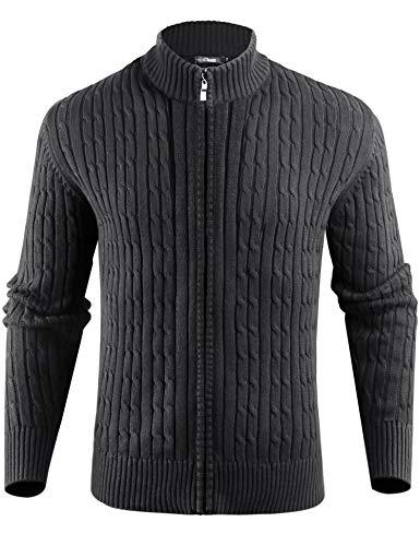 iClosam Cardigan Giacca in Maglia Uomo Casual Cotone Collo Alto Maglieria da Man Coat Jacket Invernali con Cerniera