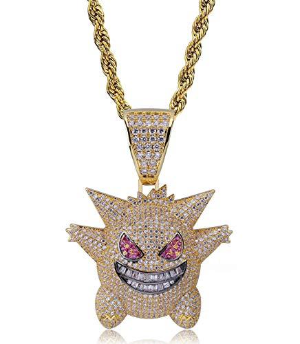 Moca Jewelry - Collana unisex con ciondolo a forma di Gengar in stile hip hop, placcata in oro 18 K, con catenina in corda in acciaio inossidabile da 61 cm e Ottone, 0, colore: Gold