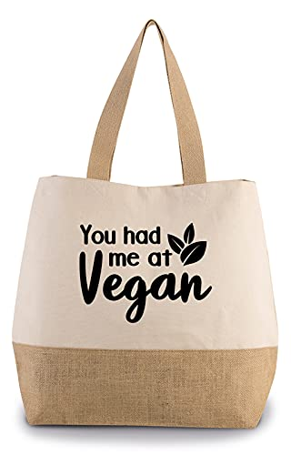 Hippowarehouse You had me at vegan Premium reusable eco friendly 100% cotton tote shopper bag for life 43cm x 33cm x 17cm
