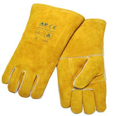 TYXHZL Lassen handschoenen Extreme hittebestendige en brandwerende handschoenen Leer geschikt voor open haarden, kachels, ovens, grills, solderen, grillen, Mig, pan rekken, dierlijke behandeling