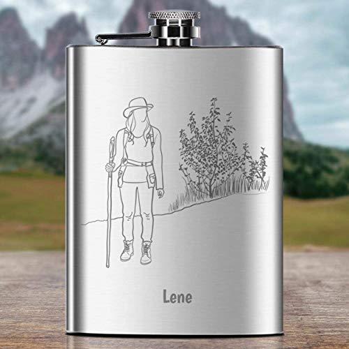 Flachmann Wanderin-Design mit Gravur | personalisierte Schnapsflasche mit Wunsch-Namen aus rostfreiem Edelstahl, Campingzubehör | Geschenk-Idee Hochzeit Geburtstag