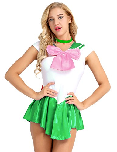 MSemis Mädchen Damen Sailor Kleid Minikleid mit Choker Satin Kette Minirock Crystal-Kostüm Matrosen Schulmädchen Uniform Halloween Karneval Cosplay Grün Medium