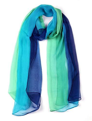 uxcell Lungo Chiffon leggero colore gradiente sciarpa per donne - blu/verde,63'x19.6'