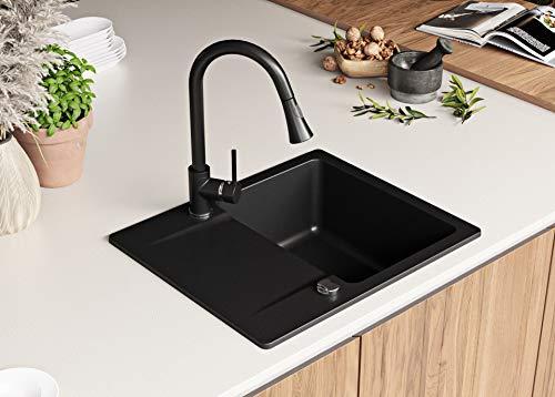 Granitspüle Schwarz 60 x 50 cm, Spülbecken + Siphon Automatisch, Küchenspüle ab 45er Unterschrank in 5 Farben mit Siphon und Antibakterielle Varianten, Einbauspüle von Primagran