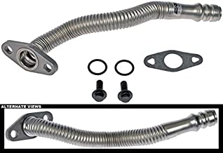 APDTY 118819 Turbo Oil Drain Return Tube Pipe Fits 6.7L Cummins Diesel Engine On 2007-2017 Dodge Ram 2500 3500 4500 5500 (Kit Includes 1 Tube, 1 Gasket, 2 Bolts, 2 O-Rings; Replaces Mopar 68005450AA)