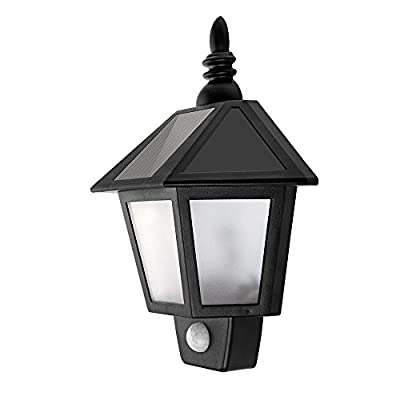 LED Solar Wall Lamp Outdoor Wall Sconce Solar Motion Sensor Light Security Night Lighting Auto On for Door Deck Front Back Door Porch Garden Patio Fence Garage Stairways
