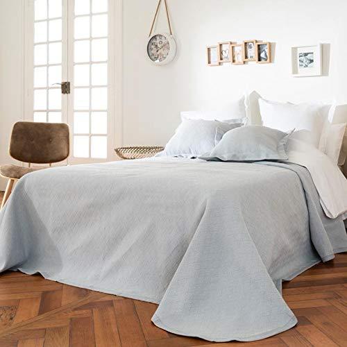 LA MALLORQUINA Colcha de Piqué - Skala (Cama 135 cm - 230x260cm - Gris) | Colchas de Lujo y Diseño de Algodón