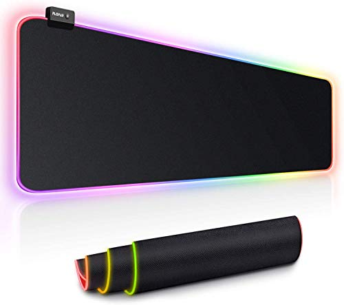 FLOPAD RGB Gaming Mauspad,800 x 300 mm Mauspad XXL mit 14 Beleuchtungs-Modi, Rutschfester Gummibasis und Wasserdichter Oberfläche Tastatur Mouse Pad für Professionelle Gamer